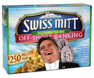 """Parody of a Swiss Miss hot chocolate box: It has a picture of Mitt Romney and the box says """"Swiss Mitt Deliciously Tax-Free Off-Shore Banking"""""""
