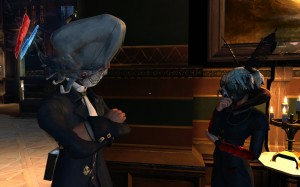 Two characters from Dishonored. He has a fish head; she wears a moth mask.