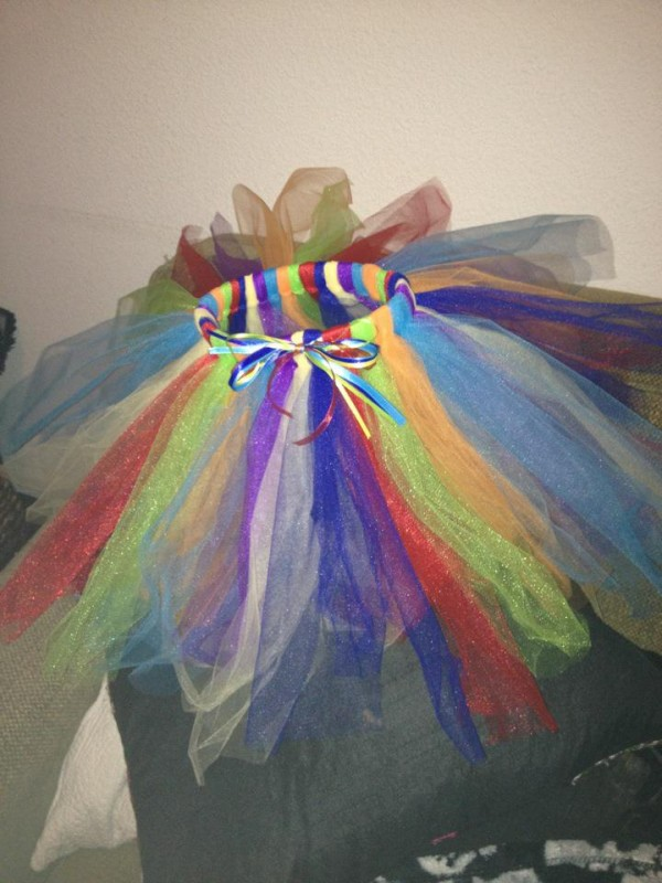 Red, orange, yellow, green, blue, teal and violet tutu