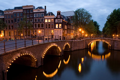 Amsterdam bridges at night
