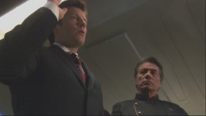 Lee Adama being sworn in as president with his father at his side