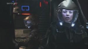 Racetrack and Skulls wearing spacewalk suits