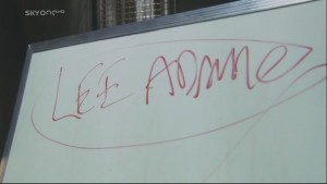 """Whiteboard with """"Lee Adama"""" written and circled in dry-erase marker"""