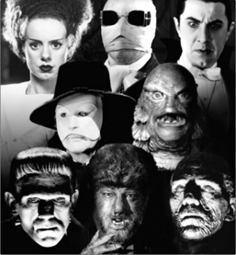 Classic Movie Monsters, including the Bride of Frankenstein, Dracula, Swamp Thing, and others