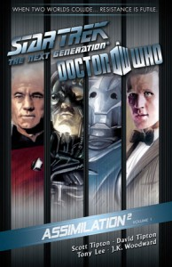 Assimilation2 Cover, showing Captain Jean-Luc Picard, a Borg, a Cyberman, and the 11th Doctor