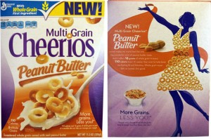 "Front and back of Multi-Grain Peanut Butter Cheerios box. The back features a silhouette of a thin woman wearing a halter dress made of Cheerios, captioned ""More grains less you"""