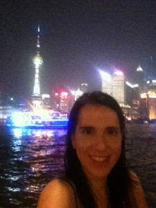 Picture of the author in front of the skyscrapers of the Bund