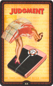 Tarot card of a woman whose body is made of steak, standing on a scale, captioned Judgment
