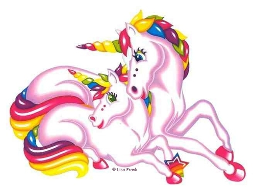 An adult and child unicorn with rainbow tails and horns are snuggling together.