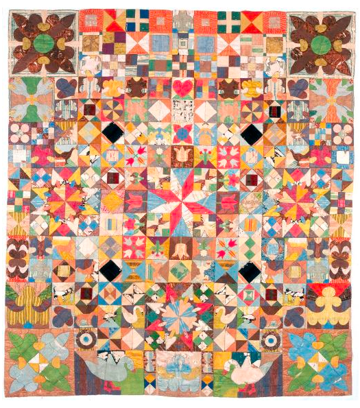 Patchwork quilt with flowers and swans