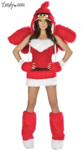 """Woman in a short fuzzy red dress with red wings, an """"Angry Bird"""" hood, and fuzzy red legwarmers"""