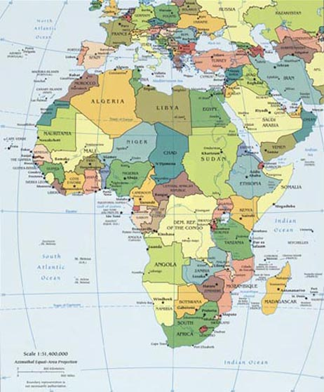 map of Africa, also showing part of Europe and the Middle East