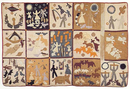 quilt with 15 squares depicting scenes from the Bible