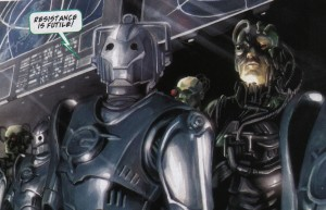 """Borgermen. Cyberman saying """"Resistance is futile"""" while surrounded by Borg"""