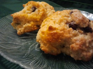 two irregularly shaped chocolate chip scones