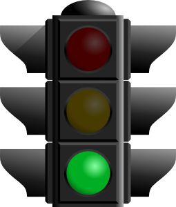 Traffic light with the green light lit