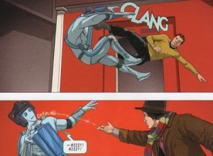 Captain Kirk kicks a retro Cyberman (Clang!) while the 4th Doctor throws water on a Cyberwoman to short-circuit her.