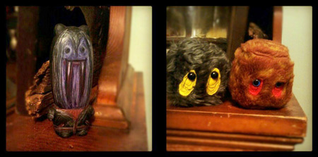 1st frame: painted torpedo-shaped vinyl doll. 2nd frame: two cube-shaped furry dolls with large eyes.