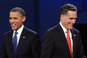 Smiling Obama and Romney at the first presidential debate