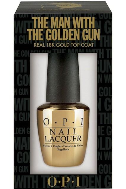 Shiny gold OPI nail polish inside black box (The Man with the Golden Gun)