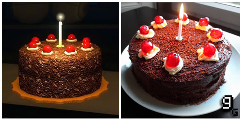 """The """"cake is a lie"""" cake from the game Portal, and a real cake made to look just like it (chocolate cake with 8 cherries on dots of frosting around the top edge and a single white candle in the middle)"""