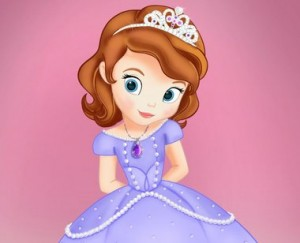 Princess Sofia: a light-skinned, blue-eyed, auburn-haired princess wearing a tiara and a lavender ball gown
