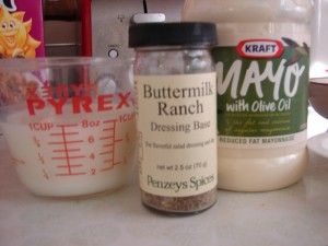 Ranch dressing ingredients: lactose-free milk, seasoning, mayo with olive oil