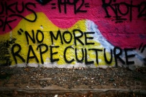 "Wall with graffiti reading ""No more rape culture"""