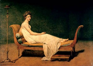 Portrait of Madame Recamier by Jacques-Louis David. A lounging woman in a flowing white shift.