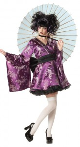 Light-skinned woman wearing a purple mini-skirted kimono print dress, white thigh-highs, high heels, and carrying a rice-paper parasol