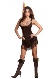 Light-skinned woman in a fringed dress with a beaded collar, leather fringed high-heel knee-high boots, and a headband with a feather