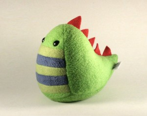 Spike by Saint Angel: green dragon plush doll with red spikes down its back