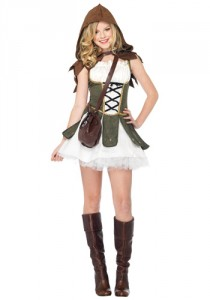 Teen girl wearing a white mini-dress with a green corset, a brown hood, and knee-high boots,