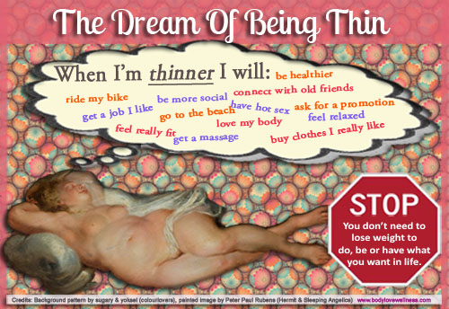 """The dream of being thin: Nude woman from a Rubens painting, thinking """"When I'm thinner I will: be healthier, ride my bike, get a job I like, feel really fit, be more social, go to the beach, get a massage, connect with old friends, have hot sex, love my body, ask for a promotion, feel relaxed, buy clothes I really like."""" A stop sign in the corner reads """"Stop. You don't need to lose weight to do, be, or have what you want in life."""""""