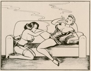 Cartoon drawing of one large-breasted woman in a negligee reclining on a couch and smoking a cigarette while another large-breasted woman in a bra and garters kneels on the floor between her legs