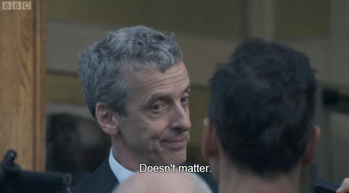 """Malcolm Tucker, exiting the police station, captioned """"Doesn't matter."""""""