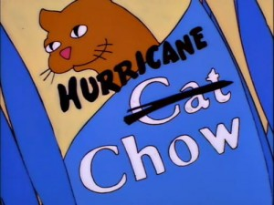 Cartoon of a bag of Cat Chow with the word Cat crossed out and replaced with Hurricane