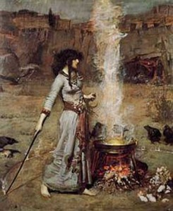 Woman in a long dress standing over a cauldron with smoke rising out of it
