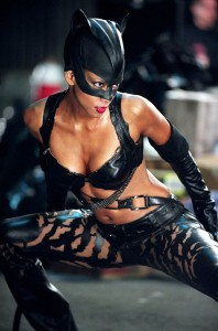 Halle Berry as the Catwoman, in a skimpy black leather outfit