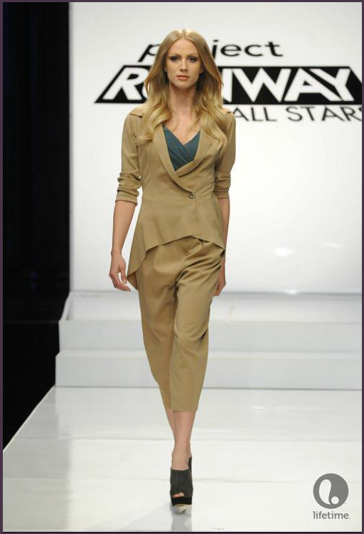 Project Runway All Stars designer Althea's model is wearing separates, including a draped blouse, a long, ill-fitting coat and drop-crotch pants.