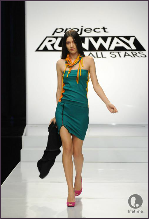 Project Runway All Stars designer Andrae's model is wearing a dress consisting of several interchangeable zippered components.