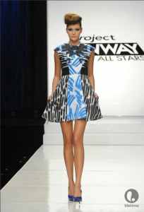 Project Runway contestant Anthony Ryan's above-the-knee, sleeveless dress with a full skirt and fitted bodice.