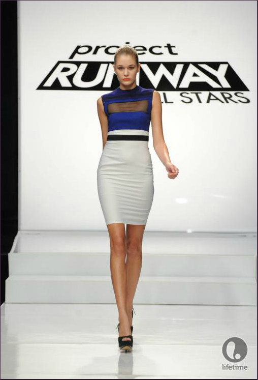 Project Runway All Stars 2x04 designer Anthony Ryan's model is wearing a geometric sheath dress with a rectangular peek-a-boo window over her bosoms.