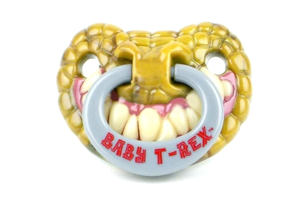 baby pacifier with T Rex teeth and green scaly lips