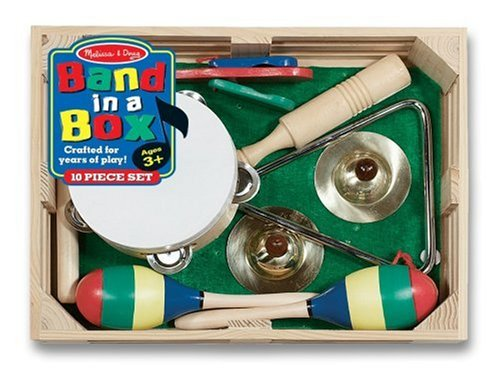 wooden box with tambourine, maracas, finger cymbals and triangle musical instruments