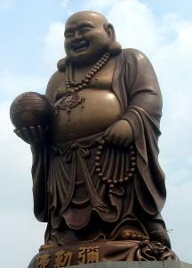 A statue of Maitreya Buddha in Budai form in Emei, Hsinchu, Taiwan
