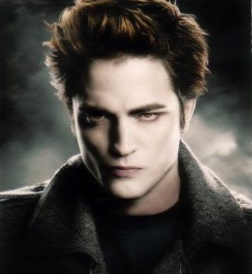 Robert Pattison as Edward Cullen from the Twilight movies, pale skin, broody face, grey jacket, looking douchey