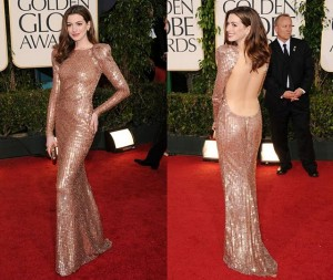 Anne Hathaway in a backless dress on the red carpet for the Golden Globes
