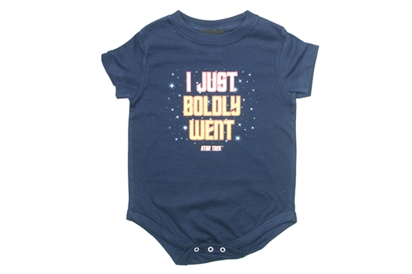 Navy blue onesie with the phrase
