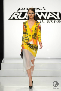 Project Runway contestant Ivy's yellow, black and red power suit, inspired by feminism, comic books and Pop Art.